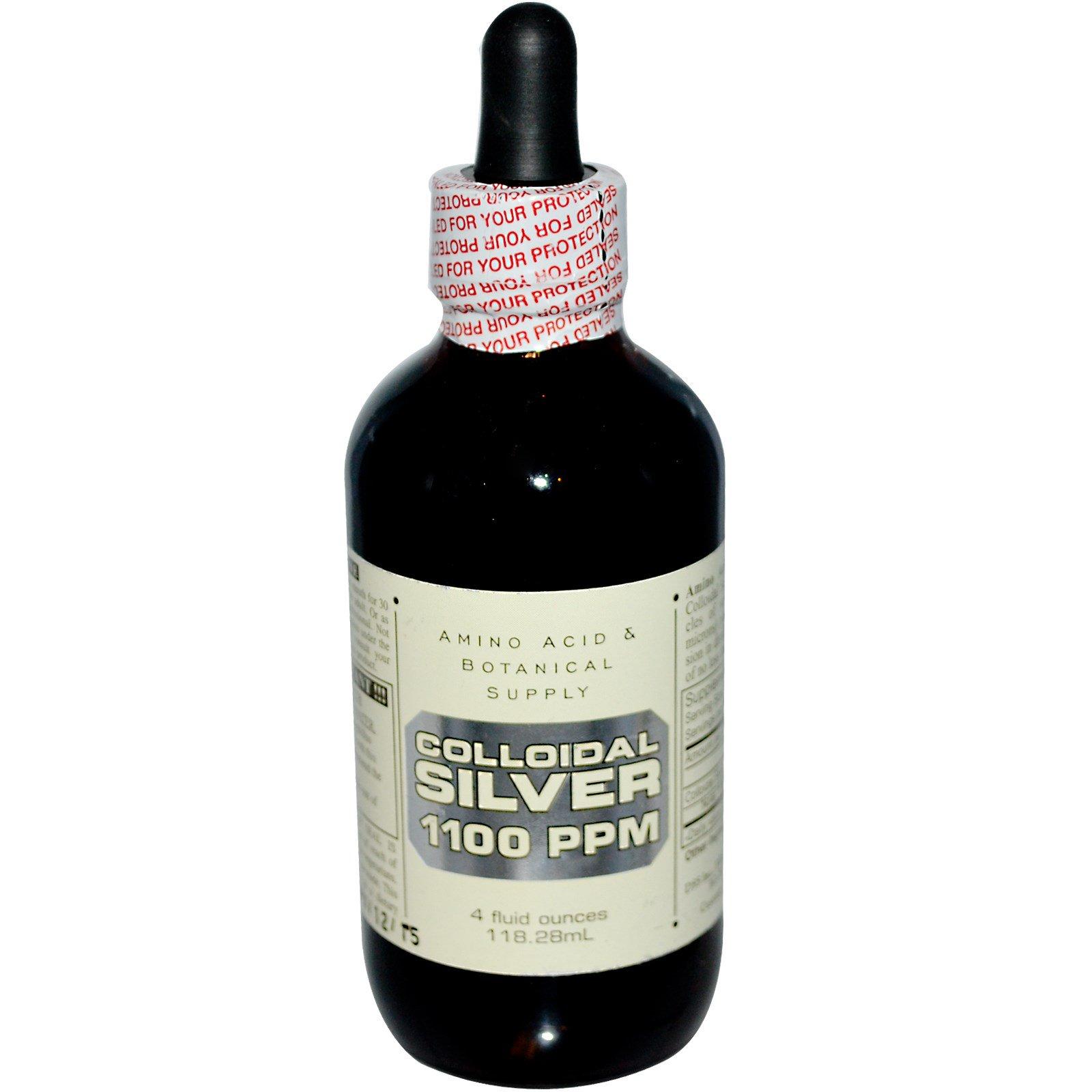 Amino Acid & Botanical Supply, Коллоидное серебро, 1100 частей на миллион, 4 жидких унции (118,28 мл)