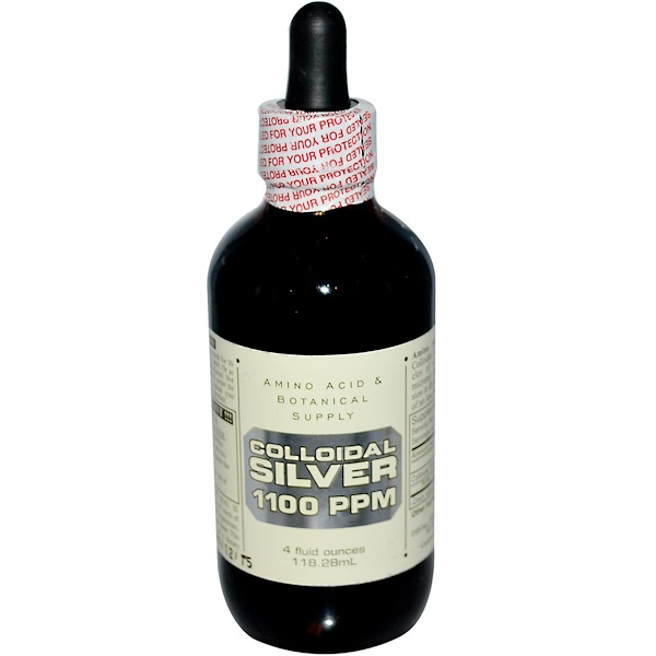 Amino Acid & Botanical Supply, Colloidal Silver, 1,100 ppm, 4 fl oz (118.28 ml) (Discontinued Item)
