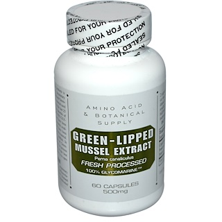 Amino Acid & Botanical Supply, Green-Lipped Mussel Extract, 500 mg, 60 Capsules