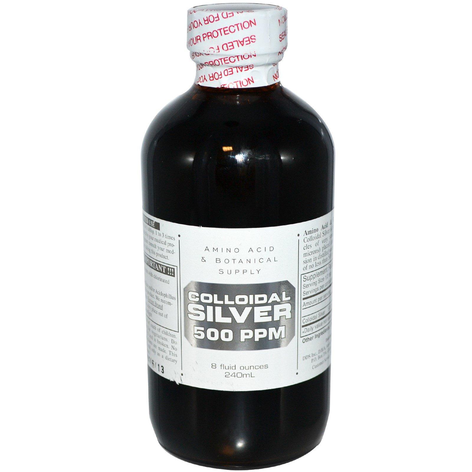Amino Acid & Botanical Supply, Коллоидное серебро, 500 ч/млн, 8 жидк. унц. (240 мл)