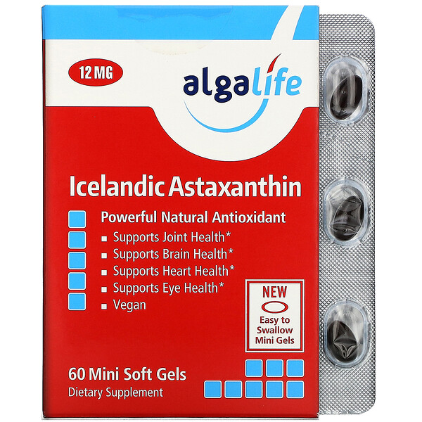 Algalife, Icelandic Astaxanthin, 12 mg, 60 Mini Soft Gels