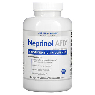 Arthur Andrew Medical, Neprinol AFD, 어드밴스드 피브린 디펜스, 500mg, 캡슐 300정