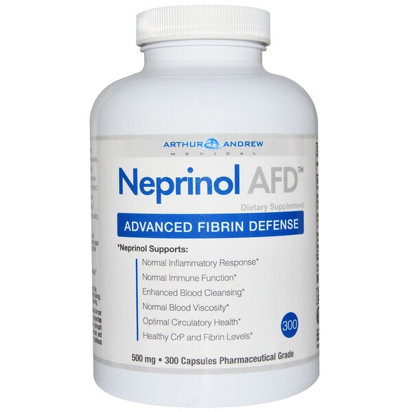 Arthur Andrew Medical, NEPRINOL®AFD, defensa fibrina avanzada, 500 mg, 300 cápsulas