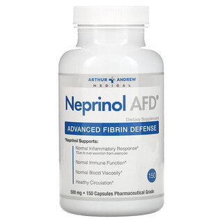 Arthur Andrew Medical, 네프리놀 AFD, 고급 피브린 방어, 500 mg, 150 캡슐