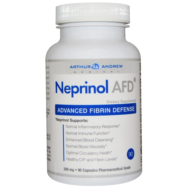 Arthur Andrew Medical, NEPRINOL®AFD, defensa fibrina avanzada, 500 mg, 90 cápsulas