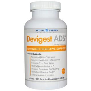 Arthur Andrew Medical, Devigest ADS, Apoyo Digestivo Avanzado, 400 mg, 180 Capsulas
