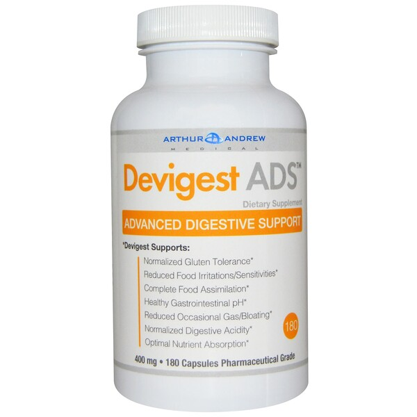Devigest ADS, Advanced Digestive Support, 400 mg, 180 Cápsulas