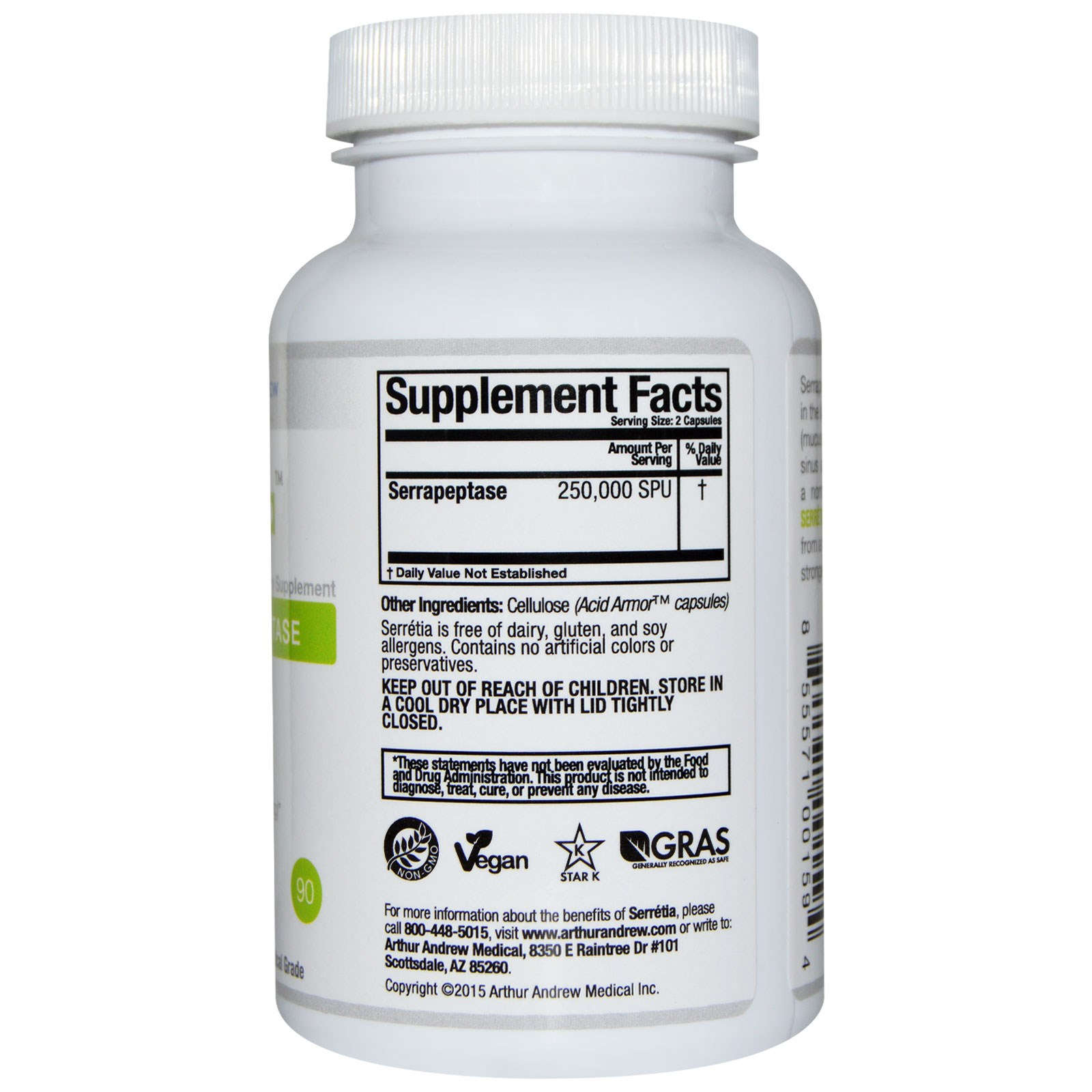 Arthur Andrew Medical, Serretia, Pure Serrapeptase, 500 mg