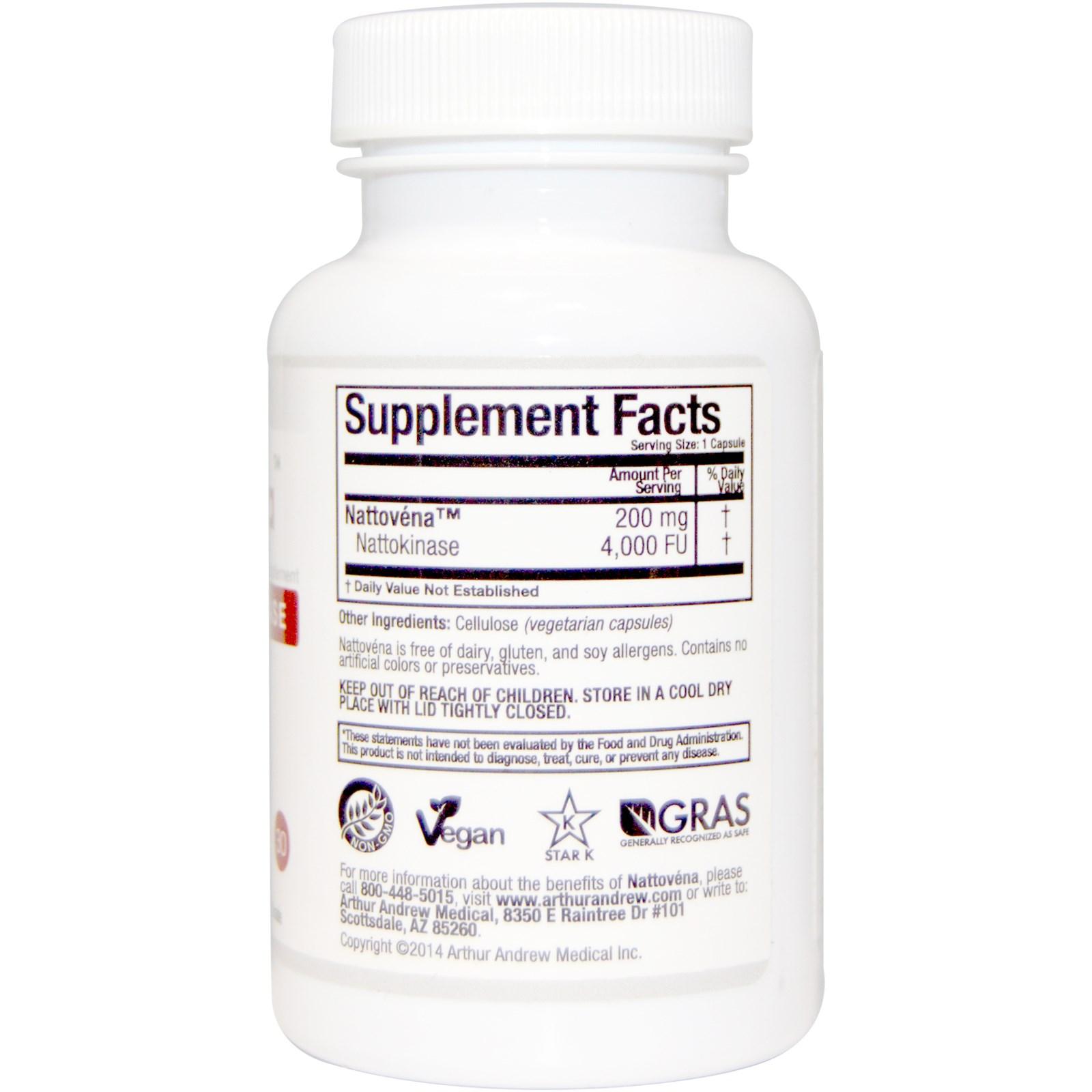 Arthur Andrew Medical, Nattovena, Pure Nattokinase, 200 mg, 30 Capsules