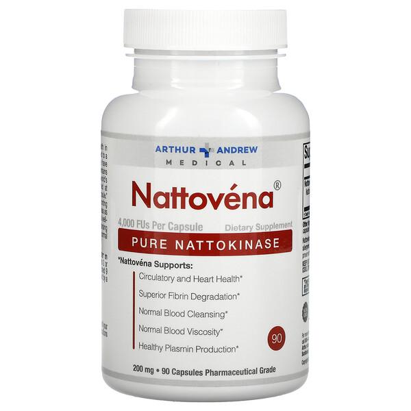 Arthur Andrew Medical, Nattovena,纯 纳豆激酶,200 毫克,90 粒胶囊