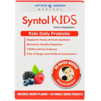 Купить Arthur Andrew Medical Syntol Kids, ежедневный пробиотик для детей, натуральный ягодный вкус, 30 отдельных порционных пакетиков