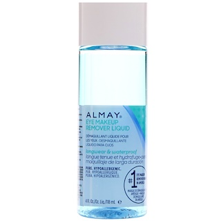 Almay, Longwear & Waterproof Eye Makeup Remover Liquid, Fragrance Free, 4 fl oz (118 ml)