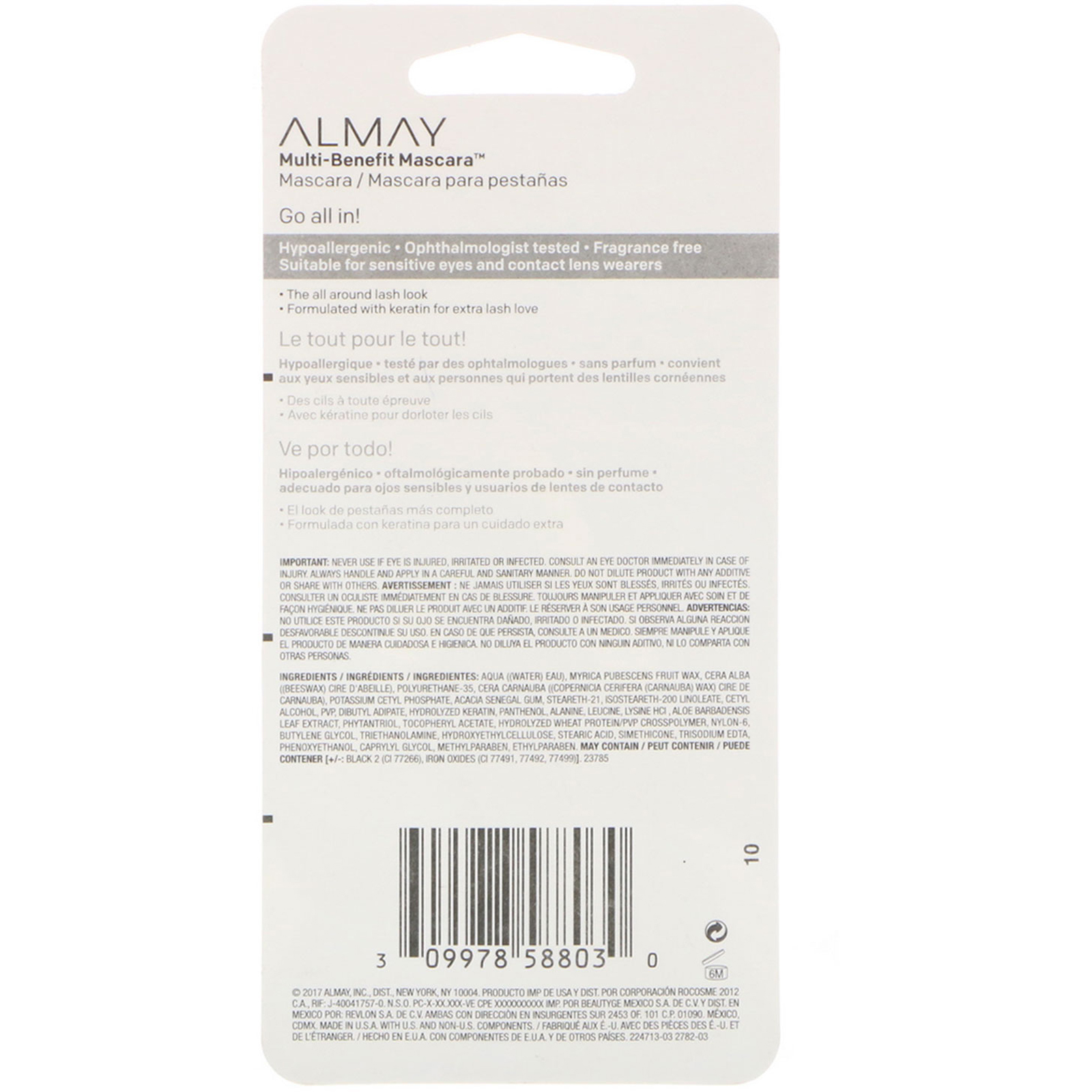 551fb94d71c Almay, Multi-Benefit Mascara, 503, Black Brown, 0.24 fl oz (7 ml)  (Discontinued Item). By Almay