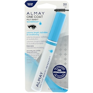 Almay, One Coat Multi Benefit Waterproof Mascara, 504, Black, 0.24 fl oz (7 ml)