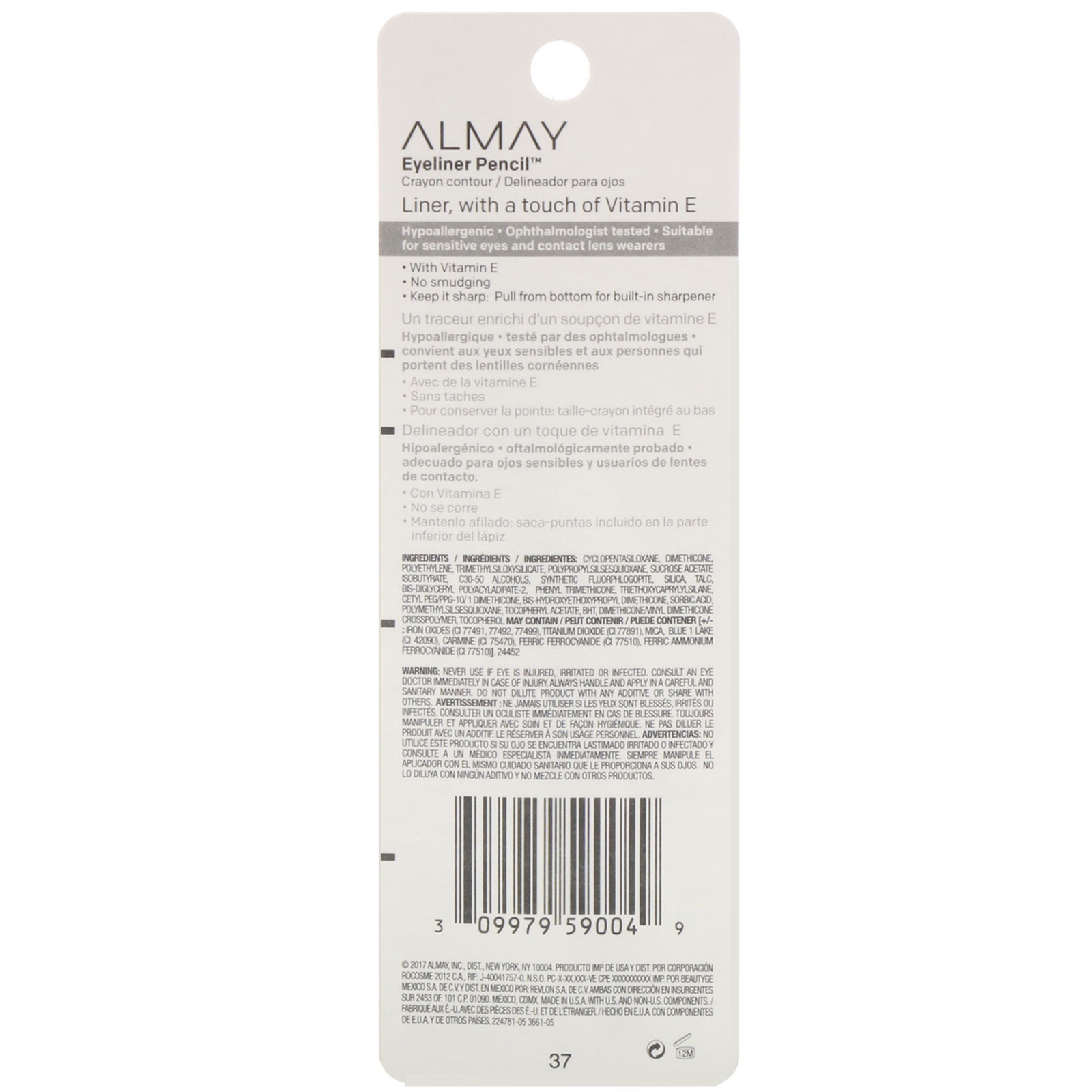 Almay, Top of the Line, Eyeliner Pencil, 209 Black Raisin, 0 009 oz (0 27 g)