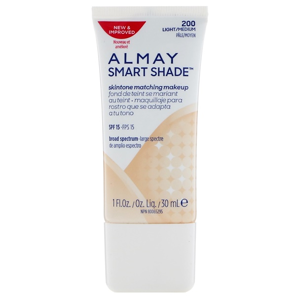 Almay, Smart Shade, Skintone Matching Makeup, SPF 15, 200 Light/Medium, 1 fl oz (30 ml) (Discontinued Item)