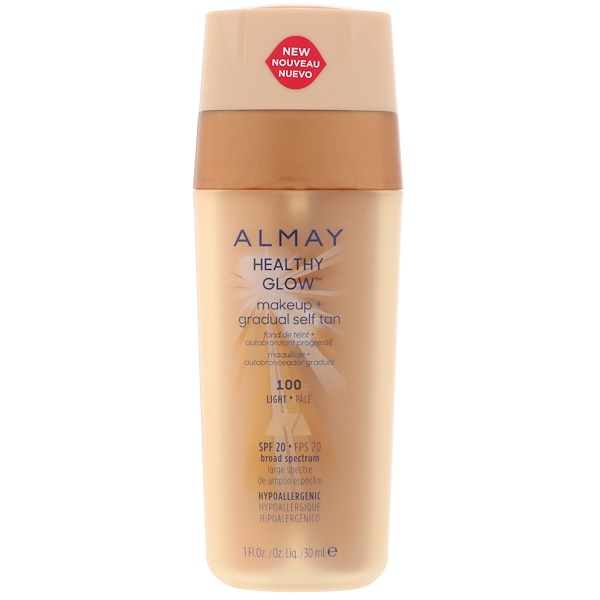 Almay, Healthy Glow Makeup + Gradual Self Tan, 100, Light, SPF 20, 1 fl oz (30 ml) (Discontinued Item)