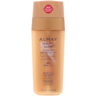 Almay, Healthy Glow Makeup + Gradual Self Tan, 300, Medium, SPF 20, 1 fl oz (30 ml)
