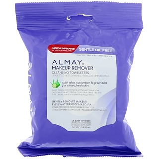 Almay, Gentle Oil Free Makeup Remover Cleansing Towelettes, 25 Ultra Soft-Wipes
