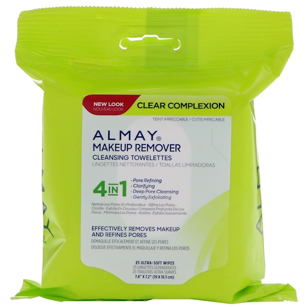 Almay, Clear Complexion Makeup Remover Cleansing Towelettes, 25 Ultra-Soft Wipes (Discontinued Item)