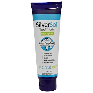 American Biotech Labs, SilverSol Tooth Gel, With Xylitol, Glacial Mint, 4 fl oz (118 ml)