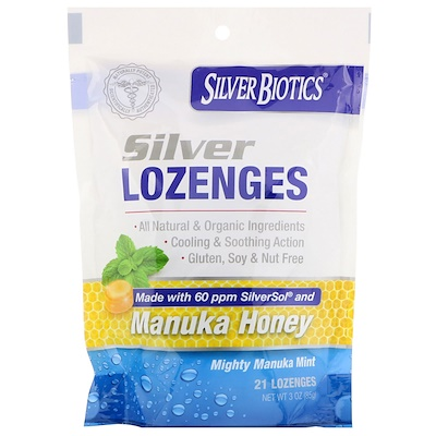 American Biotech Labs Silver Biotics, Silver Lozenges, 60 PPM SilverSol, Mighty Manuka Mint, 21 Lozenges