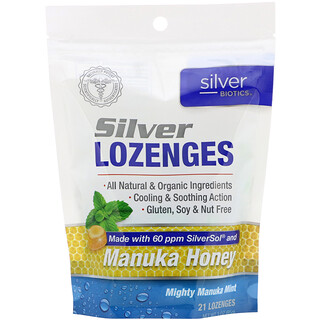 American Biotech Labs, Silver Biotics, Silver Lozenges, 60 PPM SilverSol, Mighty Manuka Mint, 21 Lozenges
