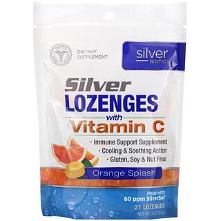 American Biotech Labs, Silver Biotics, Silver Lozenges, 60 PPM SilverSol, Orange Splash, 21 Lozenges
