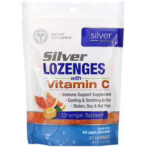 Американ Биотэк Лабс, Silver Biotics, Silver Lozenges, 60 PPM SilverSol, Orange Splash, 21 Lozenges отзывы покупателей