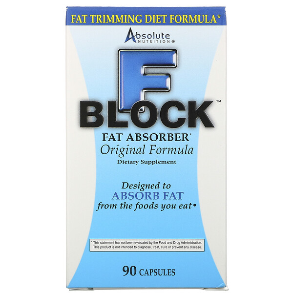 Absolute Nutrition, FBlock, Absorvedor de Gordura, 90 Cápsulas