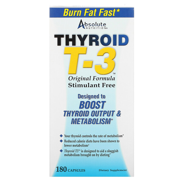 Absolute Nutrition, Thyroïde T-3, Formule originale, 180 Capsules