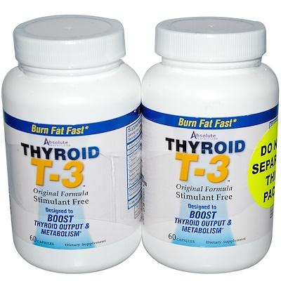 Фото Щитовидная железа T-3, оригинальная формула, 2 флакона, по 60 капсул в каждом