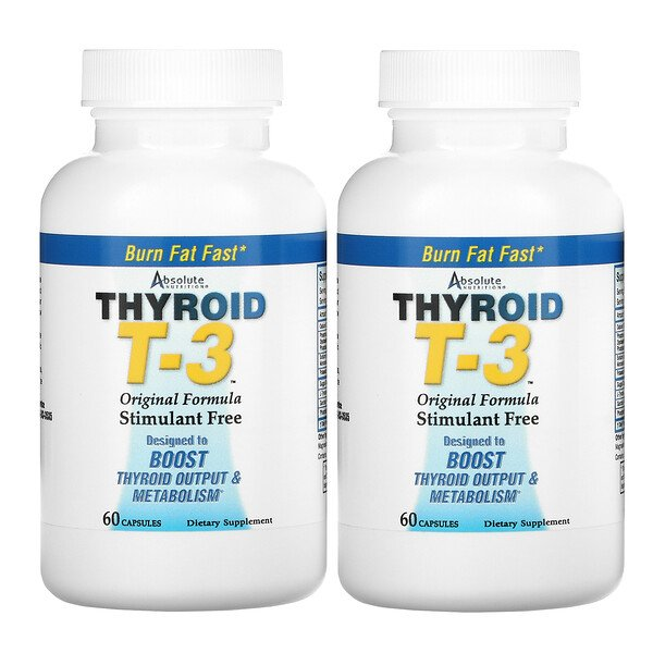 Thyroid T-3, fórmula original, 2 botellas, 60 cápsulas cada una
