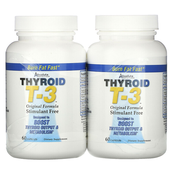 Thyroid T-3, Original Formula, 2 Bottles, 60 Capsules Each