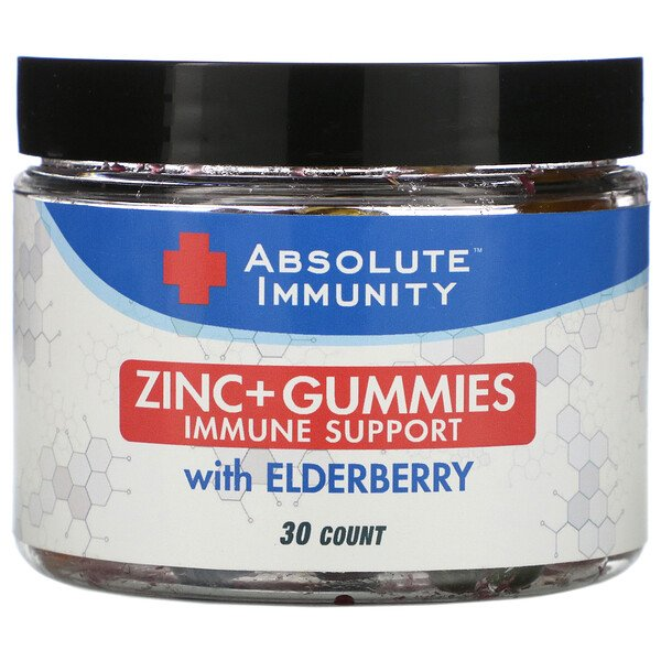 Immunity, Zinc + Gummies with Elderberry, 30 Count