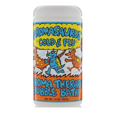 Aromasaurus, помощь против простуды и гриппа, ароматерапевтическая пена для ванны, 453 г (16 унций)