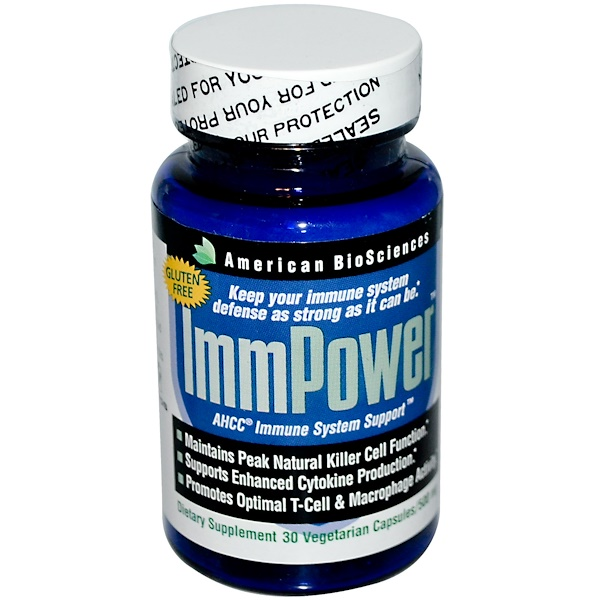 American Biosciences, ImmPower, AHCC Immune System Support, 500 mg, 30 Veggie Caps (Discontinued Item)