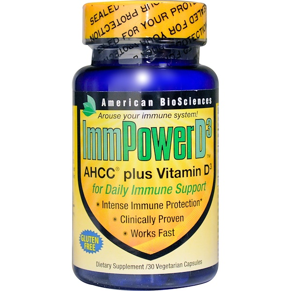 American Biosciences, ImmPower D3, AHCC Plus Vitamin D3, 30 Veggie Caps (Discontinued Item)