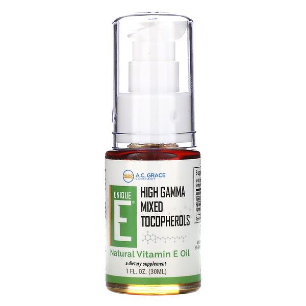 Unique E, натуральное масло с витамином Е, 1 жидк. унция