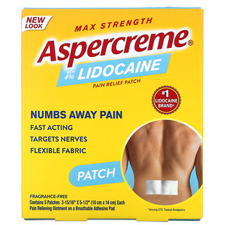 Aspercreme, Pain Relief Patch with 4% Lidocaine, Max Strength, Fragrance-Free, 5 Patches, (10 cm x 14 cm) Each