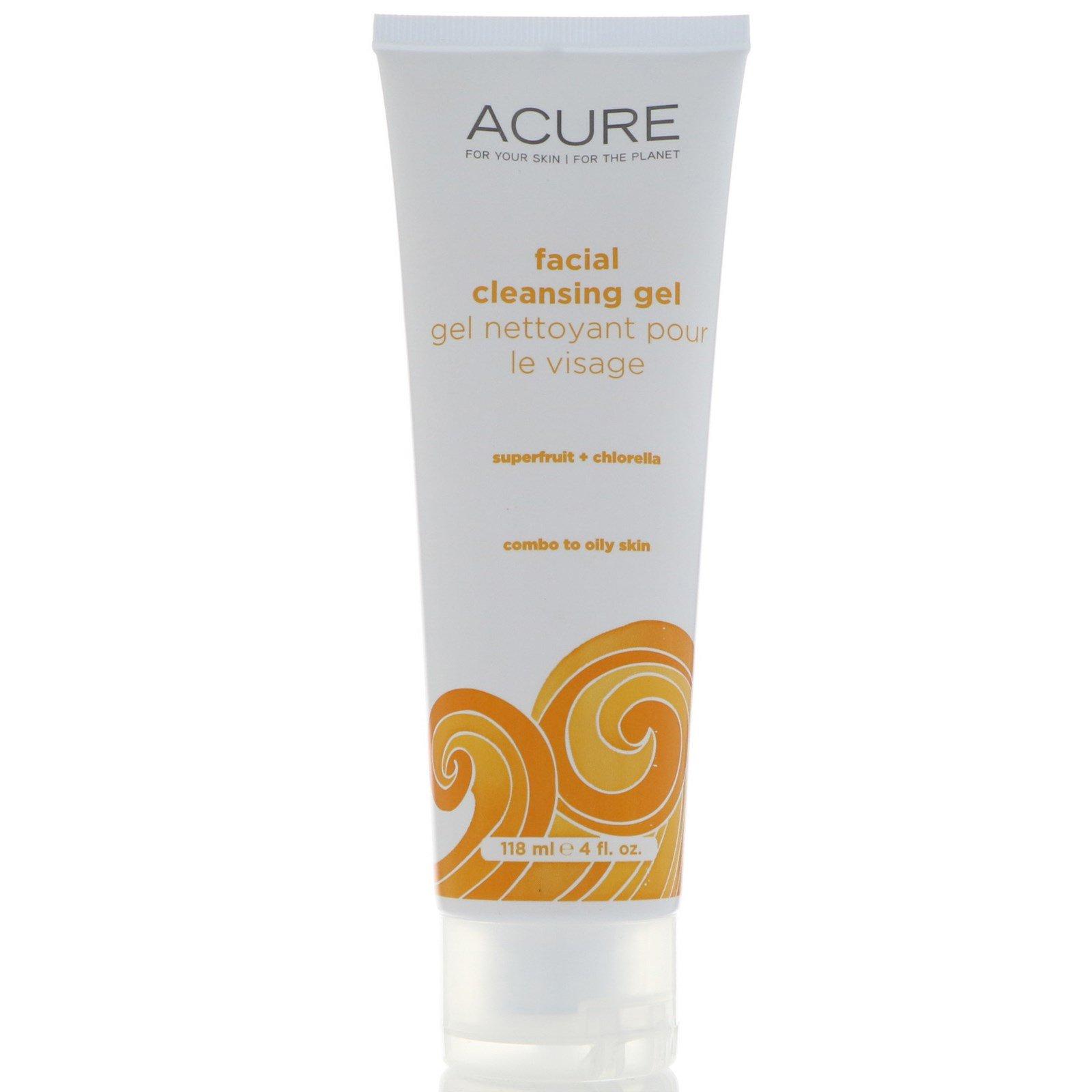 Acure Organics, Очищающий крем для лица, суперфрукты + хлорелла, 4 унции (118 мл)