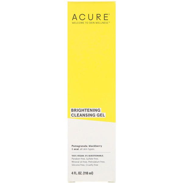 Acure, ブリリアントリーブライトニング、クレンジングジェル、4液量オンス (118 ml)