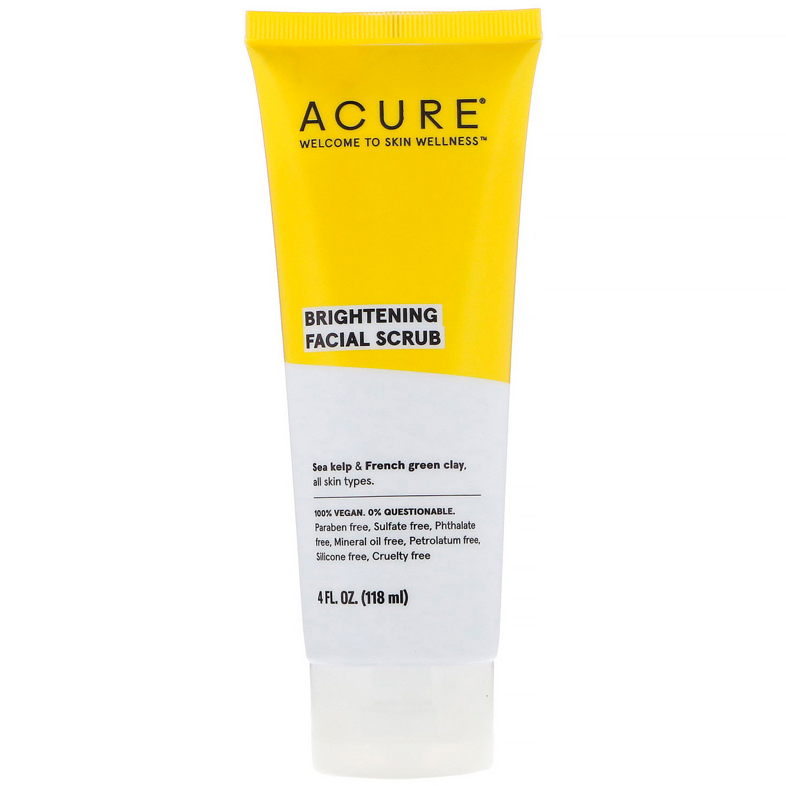 Acure, Brightening Facial Scrub, 4 Fl Oz (118 Ml)