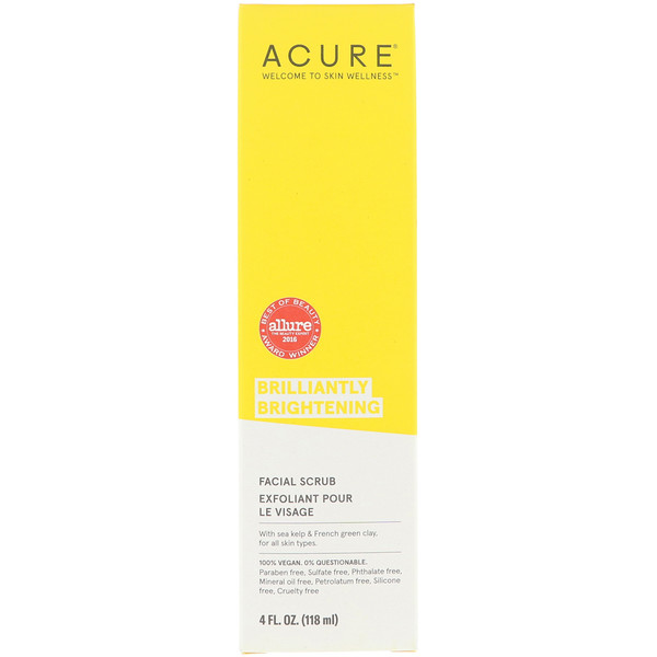 Acure, Brilliantly Brightening, Facial Scrub, 4 fl oz (118 ml)