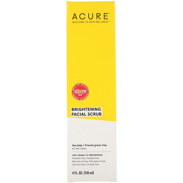 Acure, Brightening, Exfoliante facial, 4 fl oz (118 ml)