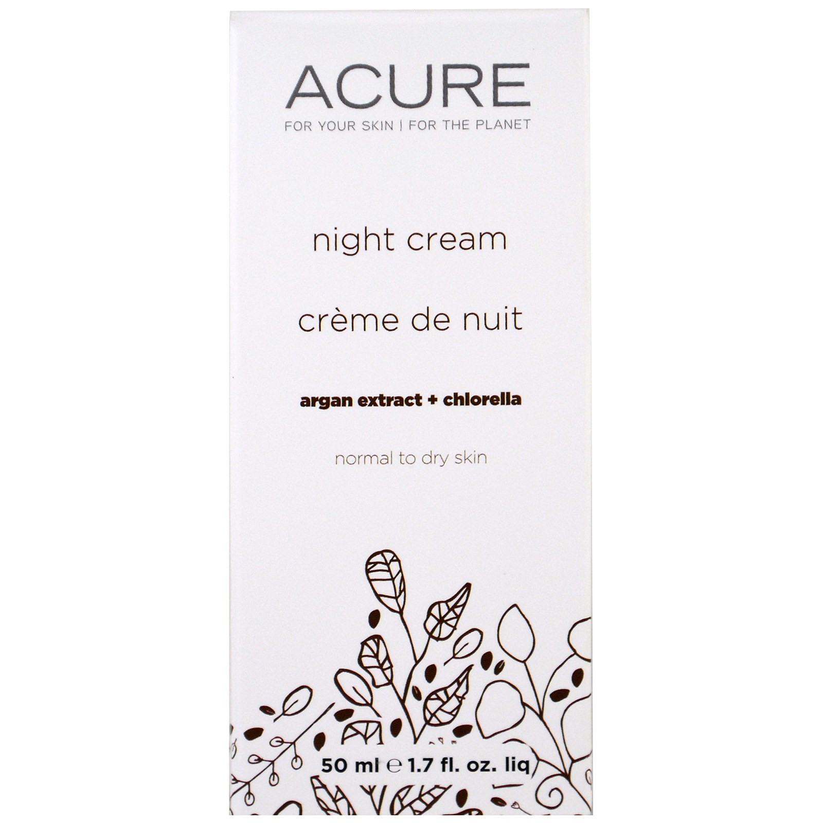 Acure Organics, Ночной крем, стволовые клетки аргана + хлорелла, 50 мл