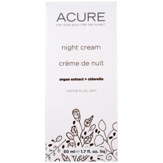 Acure Organics, Night Cream, Argan Stem Cell + Chlorella, 1.75 fl oz (50 ml)