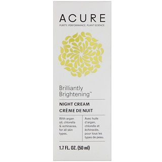 Acure, Brilliantly Brightening, Night Cream, 1.7 fl oz (50 ml)