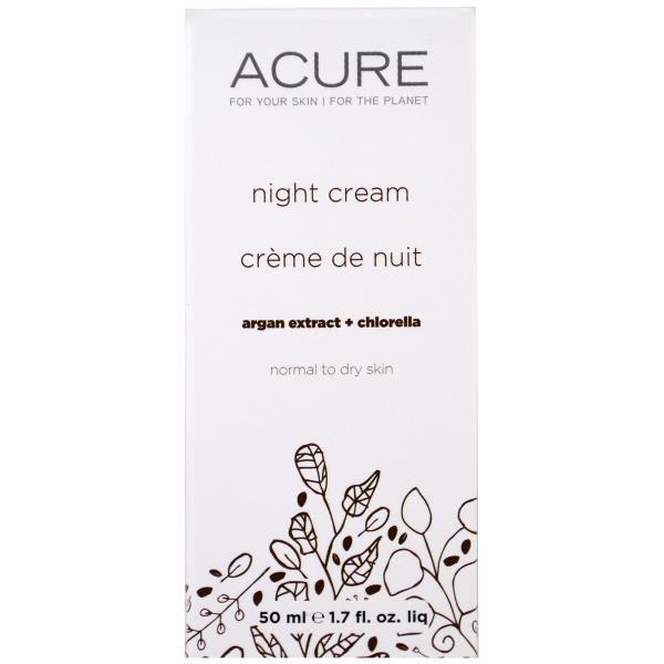 Acure Organics, ナイトクリーム、アルガン幹細胞 + クロレラ、1.75 fl oz (50 ml)