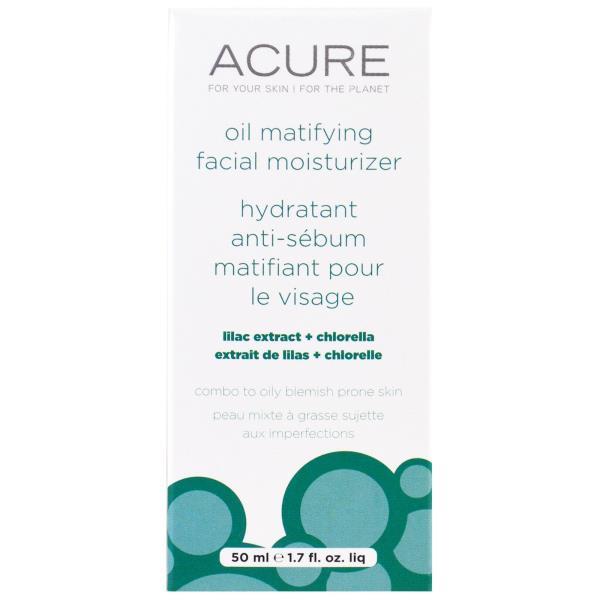 Acure Organics, 오일 매티파잉 페이셜 모이스처라이저, 라일락 추출물 + 클로렐라, 1.7 fl oz (50 ml)